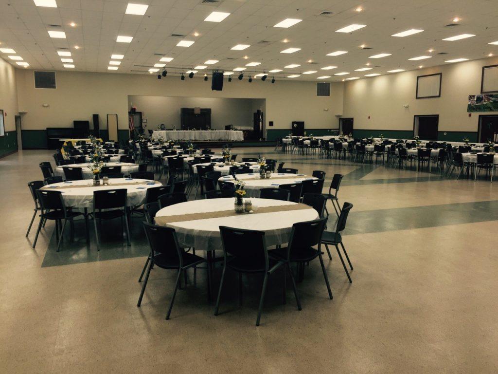 comm center wedding set up
